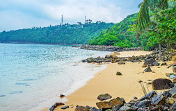 The hidden beach of Unawatuna. The secret Jungle Beach, located at the foot of Rumassala Mount and surrounded by lush forest, Unawatuna, Sri Lanka royalty free stock image