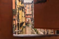 Hidden canal in Bologna Stock Photo