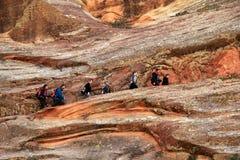 Hidden Canyon Hikers Royalty Free Stock Photos
