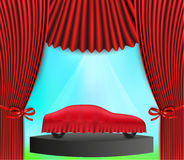 Hidden car and red curtain Royalty Free Stock Photo