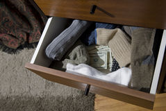 Hidden cash in sock drawer Royalty Free Stock Photos