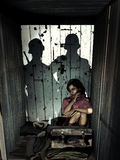 Hidden child. During the Second World War, two German soldiers find a young girl hidden in a cupboard in an attic Royalty Free Stock Images