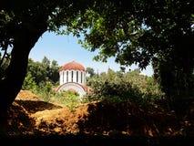 Hidden Church. Photo of a church, hidden in the woods stock photo