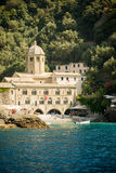 Hidden church on a beach. San Fruttuoso Stock Images