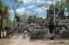 Hidden City. Named the lost city. These weather beaten rocks have taken the form of old ruins. Located in the top end of Northern Territory Australia Stock Photos