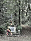 The hidden cross. A cross inside the forest capodimonte commemorates the fallen with a faded color desired purpose Royalty Free Stock Image