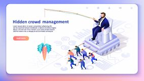 Hidden Crowd Management. Vector Illustration. Hidden Crowd Management. Globalization, Leader Controls Puppets. Man on Throne Crowd Control. Business Concept vector illustration