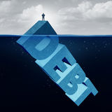 Hidden Debt. Business and unknown financial danger concept as a naive businessman standing on the tip of an iceberg as a 3D illustration text element as an Stock Image