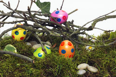 Hidden decorated Easter Eggs for the hunt Royalty Free Stock Photos