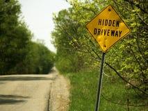 Hidden Driveway Sign Stock Photos
