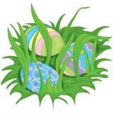 Hidden easter eggs. Illustration of easter eggs hiding in the grass Stock Illustration