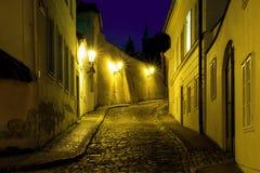 Free Hidden Fairytale Street In Prague Novy Svet Quarter Enlightened By Street Lamps During Night Stock Photos - 183683613