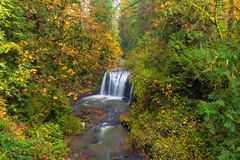 Hidden Falls in Autumn in Oregon state USA. Hidden Falls on Rock Creek in Happy Valley Clackamas County Oregon during Fall Season United States USA stock photography