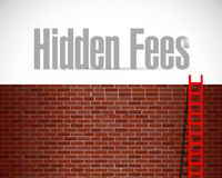 Hidden fees brick wall and ladder sign Stock Images
