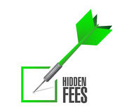 Hidden fees check dart sign concept Royalty Free Stock Images