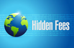 Hidden fees globe sign concept illustration Stock Images