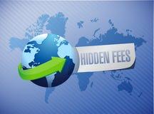 Hidden fees globe sign concept Stock Photography