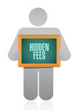 Hidden fees people board sign concept Stock Photo