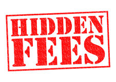 HIDDEN FEES. Red Rubber Stamp over a white background stock illustration