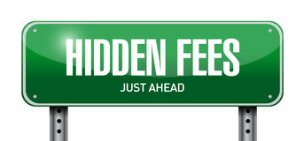 Hidden fees street sign concept illustration. Design graphic Stock Photos