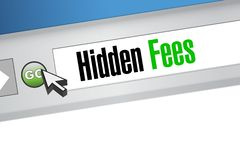 Hidden fees web browser sign concept Stock Image