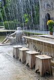 Hidden fountains in a dinner table at Hellbrunn Royalty Free Stock Photos