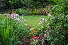 Hidden Garden. View of a lush backyard lawn surrounded by colorful flowers Stock Images