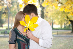 Hidden kiss. Young couple kissing behind big leaf, outdoor Royalty Free Stock Images