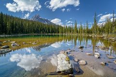 A hidden lake with blue sky and mountains background stock photography