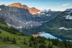 Hidden Lake Trail, Glacier National Park, Montana, USA. Sunset Stock Photos