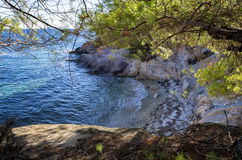 Hidden little beach in Sithonia, Chalkidiki, Greece Stock Image