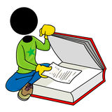 Hidden message. Silhouette-man found a hidden note in a book Royalty Free Stock Photography