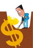 Hidden money. Vector illustration Businessman unearthing the money Stock Image