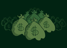 Hidden money bags. Many money bags hidden in the dark Royalty Free Stock Photography
