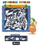 Hidden objects school. Educational game for kids, puzzle. development of logic, iq. Task game Find 12 hidden objects on the picture Stock Photo