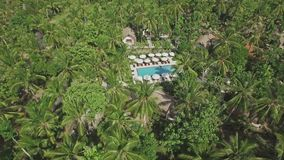 Hidden Pool Tropical Palm Jungle Forest Aerial 4k. Aerial footage of a beautiful resort in Nusa Penida, Indonesia stock video footage