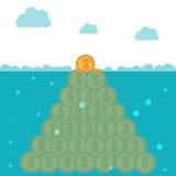 Hidden potential concept.  Iceberg of the coins Stock Photos