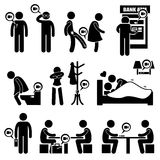 Hidden Spy Camera Secret Video Recording Cliparts Icons. Pervert using hidden camera on his shoes, toilet, changing room, and hotel room. It also shows someone a Royalty Free Stock Photography