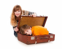 Hidden in a suitcase Stock Photos