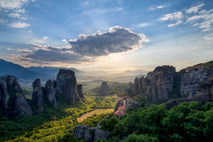 Hidden Sun - Meteora, Greece Stock Photos