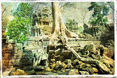 Hidden temples. Mysterious temples of ancient Cambodia -artwork in painting style Stock Photo