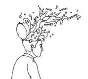 Hidden thoughts flow Stock Photos
