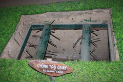 Hidden trap at the tunnels of Củ Chi. Damaging trap in Vietnam used in by war Stock Images