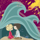 Hidden, under the ocean. Boy and Girl hiding under the ocean waves  while comets are falling Royalty Free Stock Photo