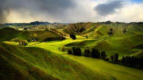 Hidden Valley, Lost World,. Green hills in hidden valley along Forgotten World scenic Highway - New Zealand royalty free stock photo