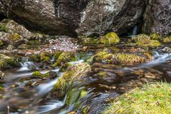 Hidden Valley Scotland water flow steam stock images