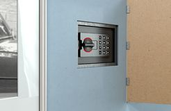 Hidden Wall Safe Behind Picture. A closed hidden wall safe revealed behind a hanging framed picture on a flat blue wall in a house - 3D render stock photography