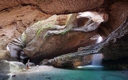 Hidden waterfall into Canyon royalty free stock photo