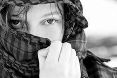 Hidden woman on veil Stock Photos