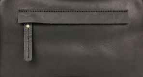 Hidden zippered pocket on natural black leather. Part of leather bag Stock Images